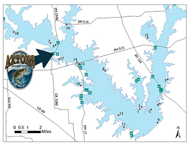 Map of Lake Fork in Emory, Texas and logo of Axton's Bass City indicating location on the map